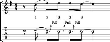 guitar bending lick tab