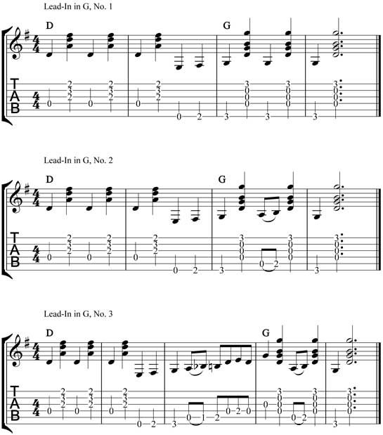 flatpicking lead-in runs tab